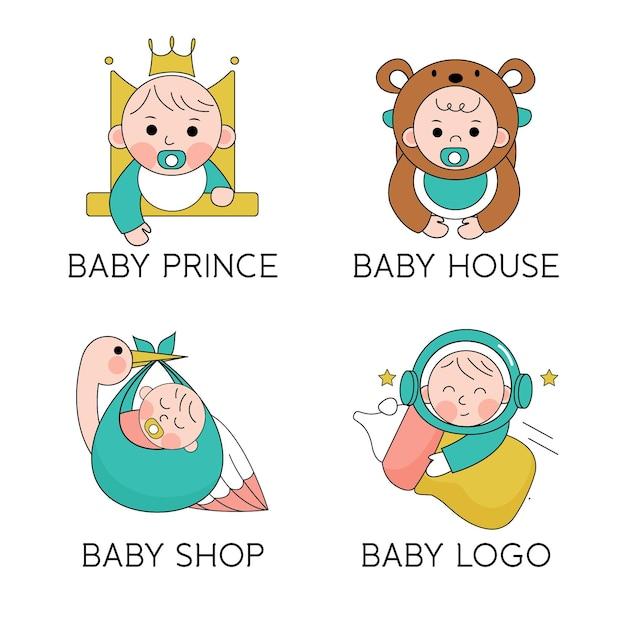 귀여운 아기 로고 팩 무료 벡터