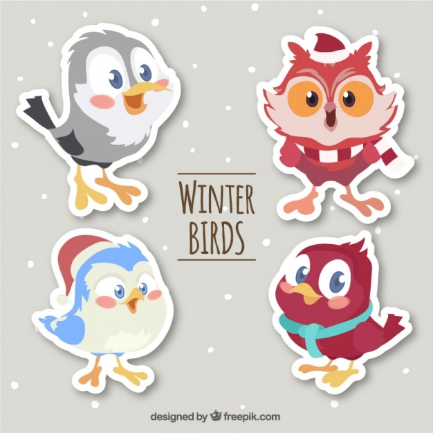 Pack of cute cartoon bird stickers