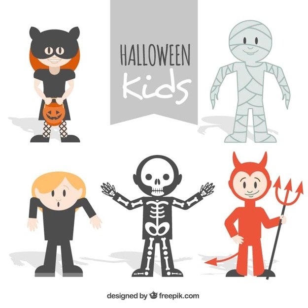 Pack of cute children dressed up like halloween\ characters
