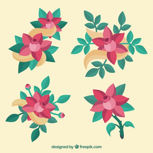 Pack of cute decorative roses in flat\ design