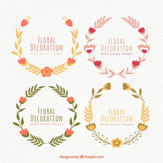 Floral Decoration pack of cute floral decoration in vintage style vector | free download