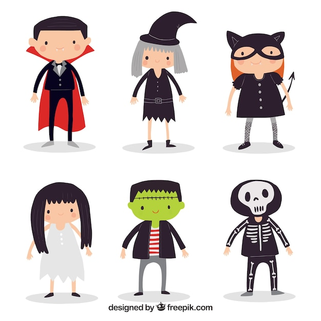 Pack of cute halloween characters Free Vector