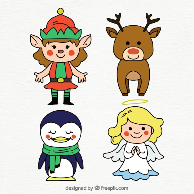 Pack of cute hand drawn christmas characters