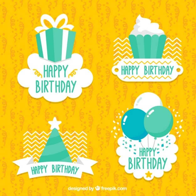 Pack Of Cute Happy Birthday Stickers Vector
