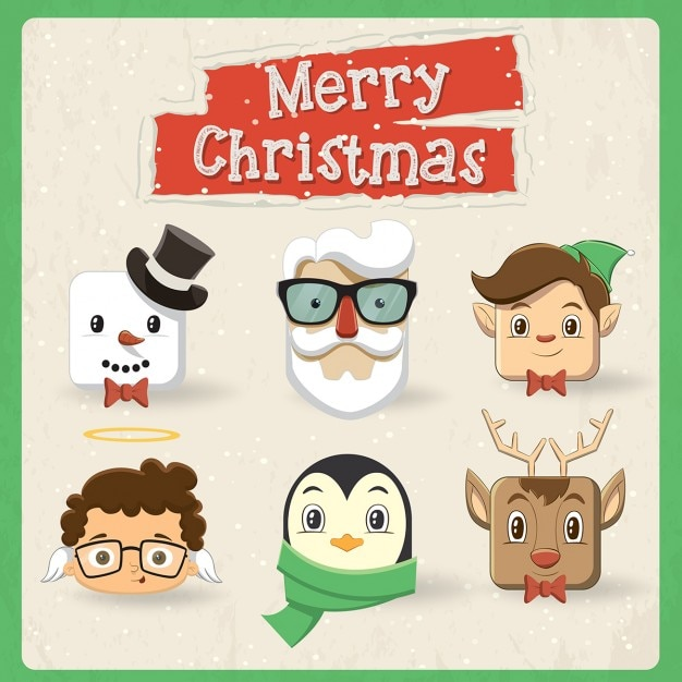 Pack of cute vintage christmas characters Free Vector
