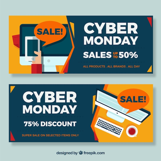 Pack of cyber monday banners Free Vector
