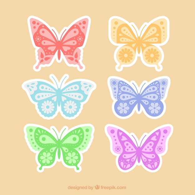 Pack of decorative butterfly stickers Vector | Free Download