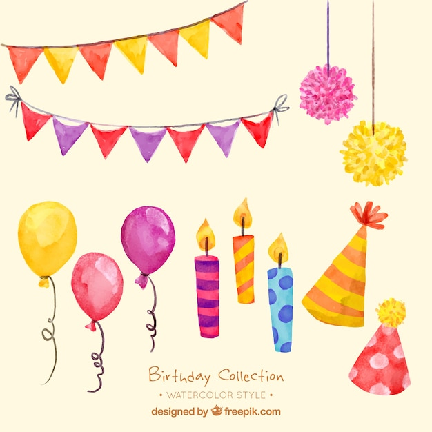 Pack of decorative elements of birthday in watercolor effect