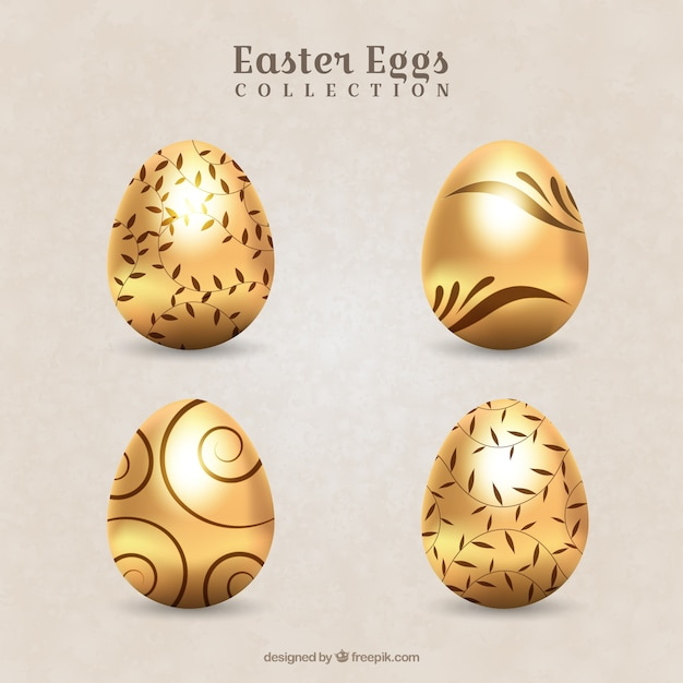 Pack of decorative golden easter eggs Free Vector