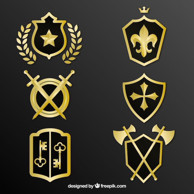 Pack of decorative golden shields Free Vector