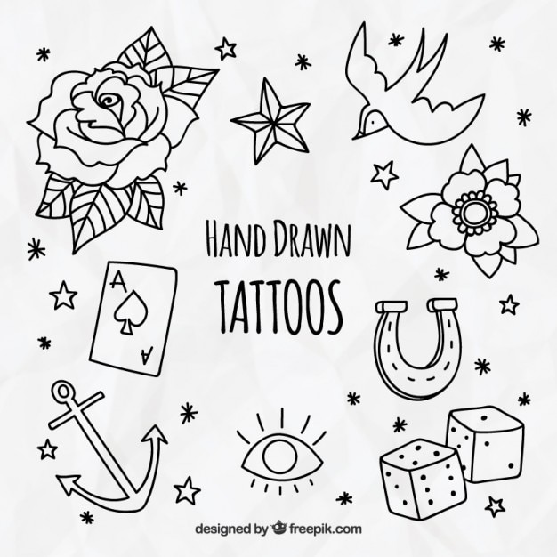 Пакет декоративной ручной тяге татуировки Бесплатные векторы