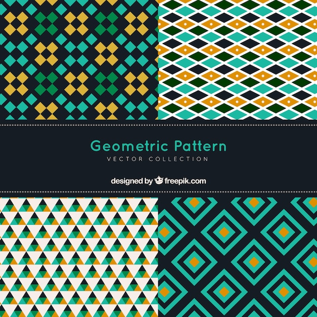 Pack of decorative patterns with abstract shapes
