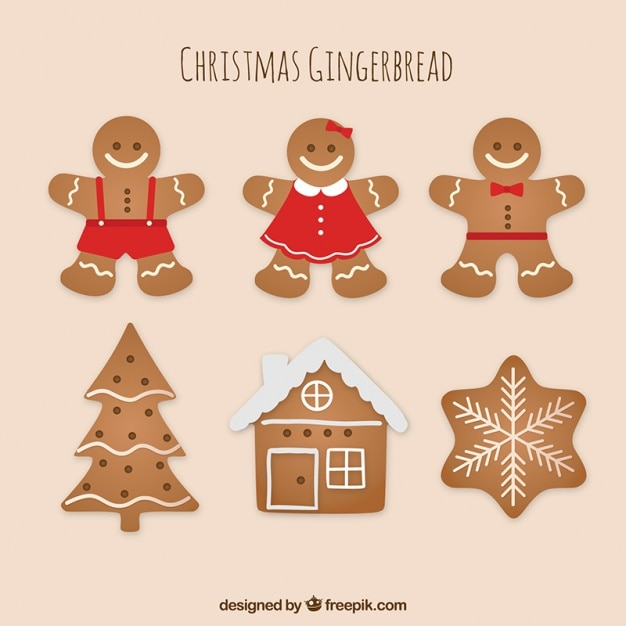 Pack of delicious ginger cookies Free Vector
