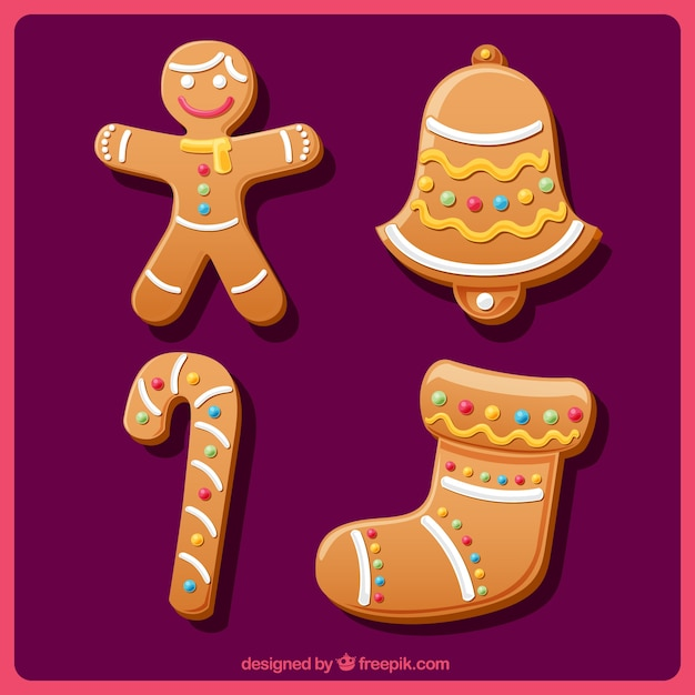 Pack of delicious traditional christmas ornaments cookies Vector ...