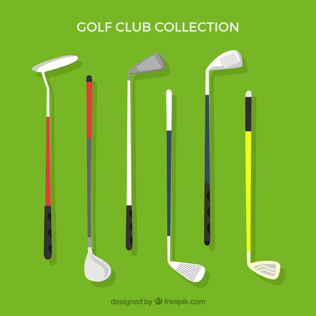 Pack of different golf clubs