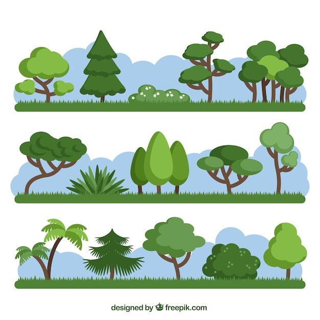Pack of different green trees Free Vector