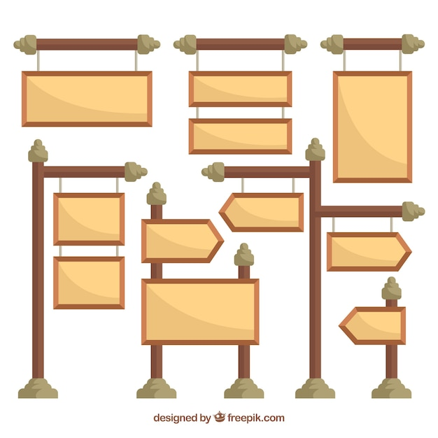 Pack of different signs in flat design