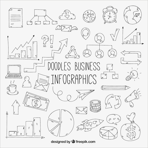Pack of doodles for a business infographic Free Vector