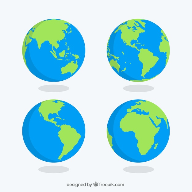 pack of earth globes vector free download rh freepik com world globe vector cdr free download world globe vector image