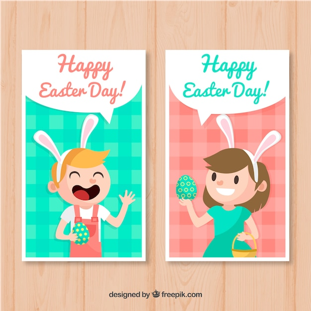pack of easter cards with kids vector free download