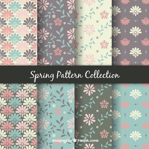 Pack of eight spring patterns Free Vector