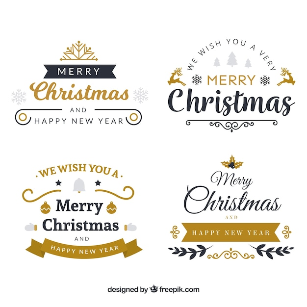 Pack of elegant christmas stickers Free Vector