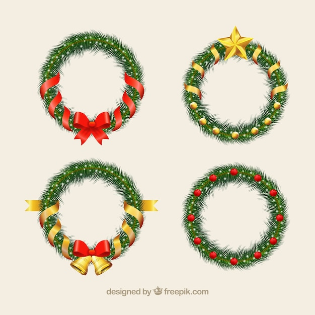 pack of elegant christmas wreaths free vector - Elegant Christmas Wreaths