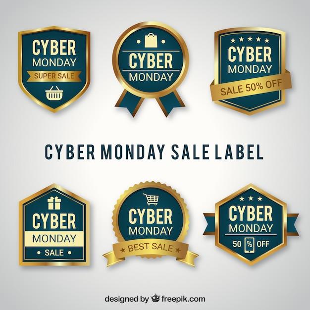 Pack of elegant cyber monday badges