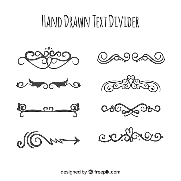 Pack of elegant hand drawn ornaments