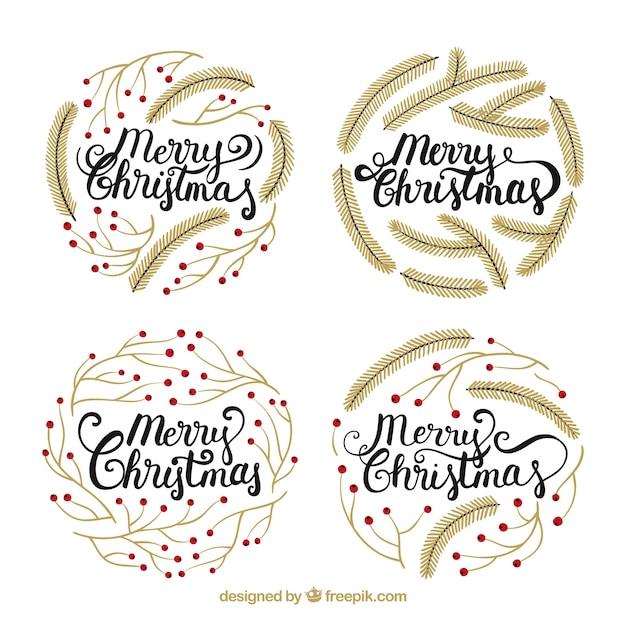 Pack of elegant merry christmas badges