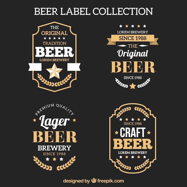Pack of elegant retro beer stickers