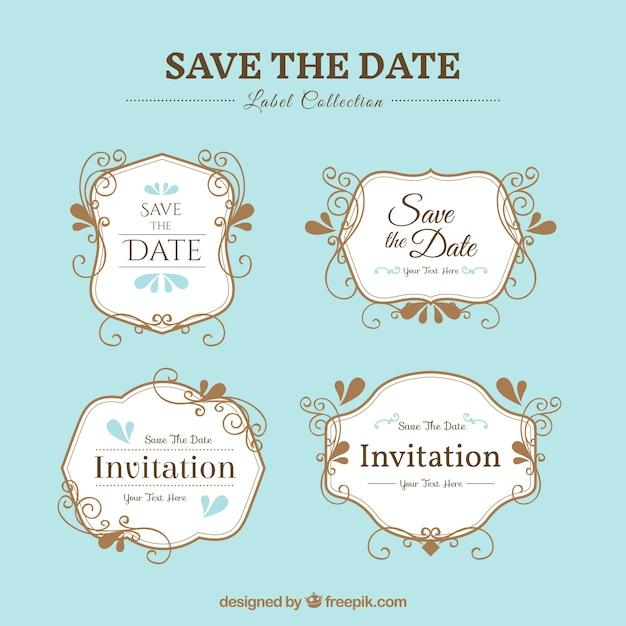 Pack of elegant wedding stickers vector free download pack of elegant wedding stickers free vector stopboris Images