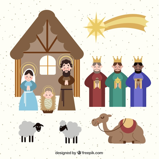 Pack of elements and nativity scene characters  Free Vector