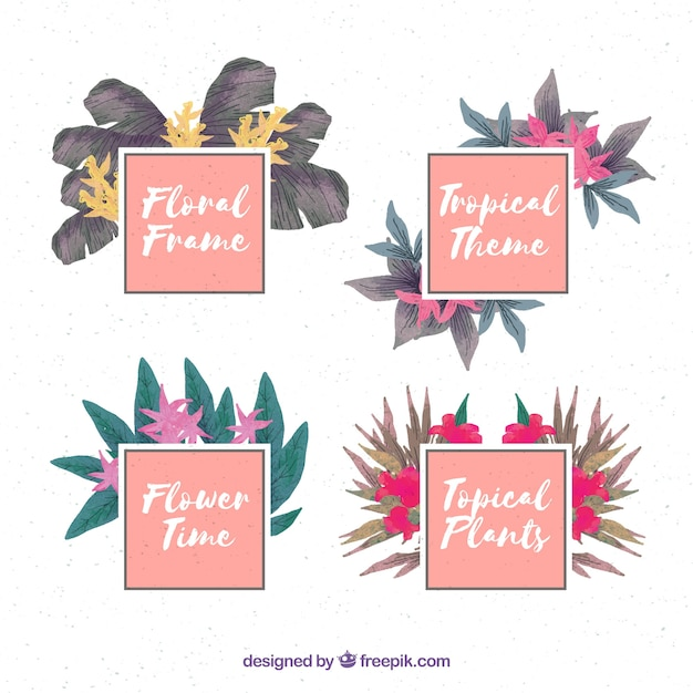 Pack of exotic watercolor flower frames