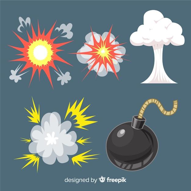 Пакет взрывных эффектов в мультяшном стиле Бесплатные векторы