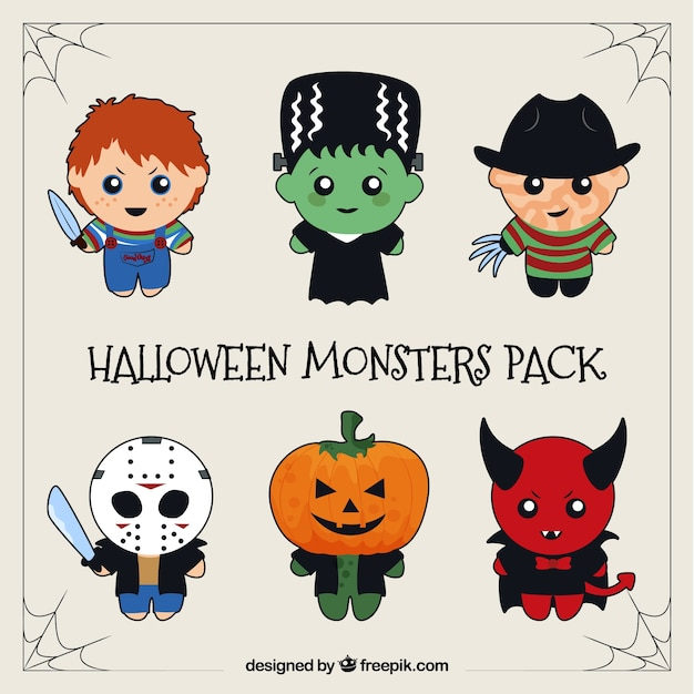 Pack of famous halloween characters Vector | Free Download