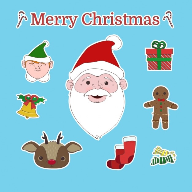 Pack of fantastic stickers for christmas Free Vector
