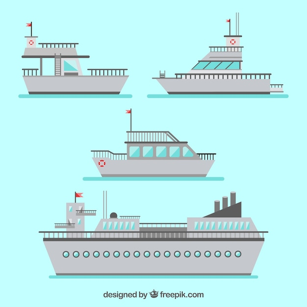 Pack of five gray boats in flat design