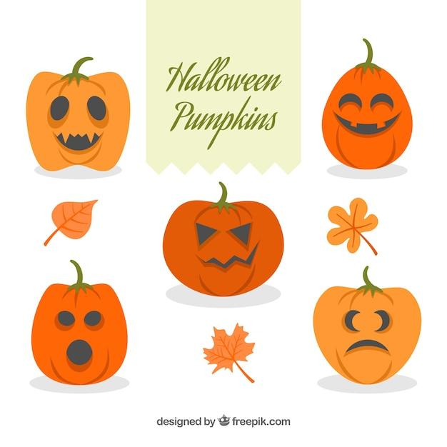 Pack of five halloween funny pumpkins Vector | Free Download