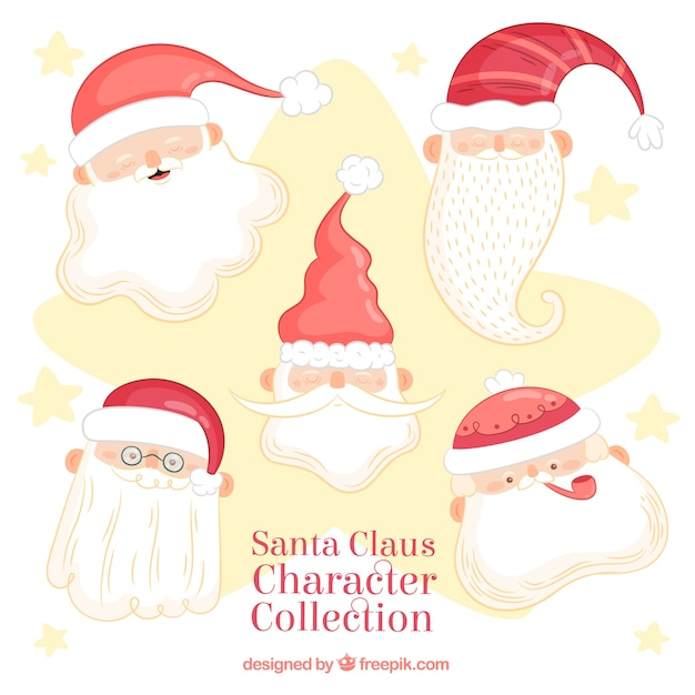 Pack of five lovely faces of santa claus