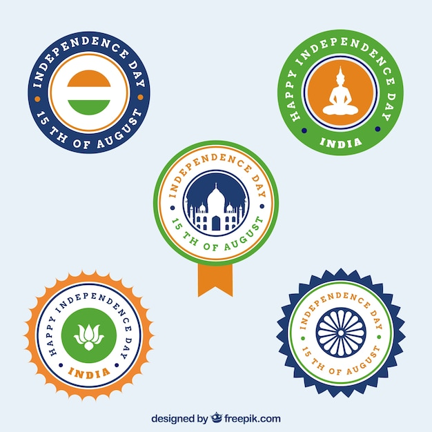Pack of five retro independence insignia of india