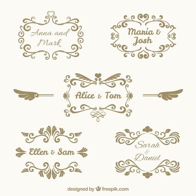 Pack of five vintage wedding frames Vector | Free Download