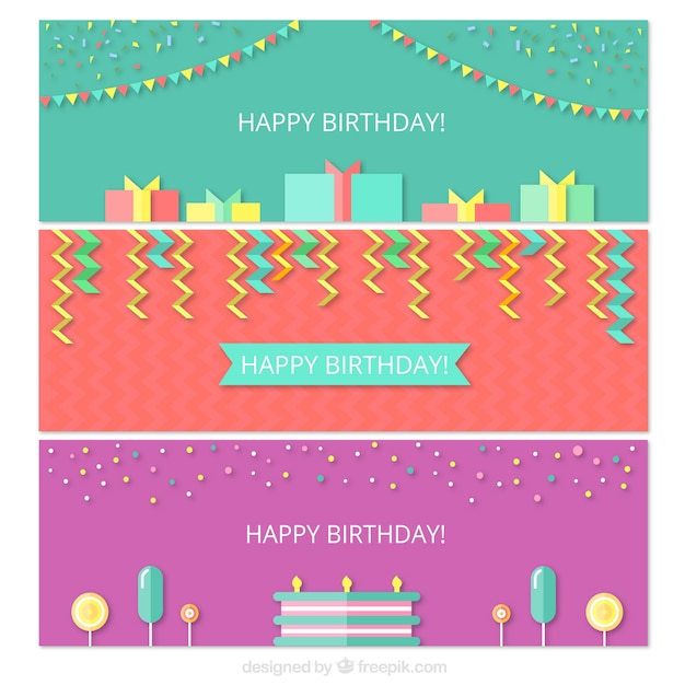 Pack Of Flat Banners With Birthday Elements Vector