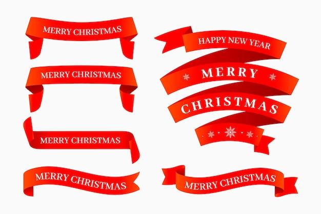 Пакет плоских рождественских лент Бесплатные векторы