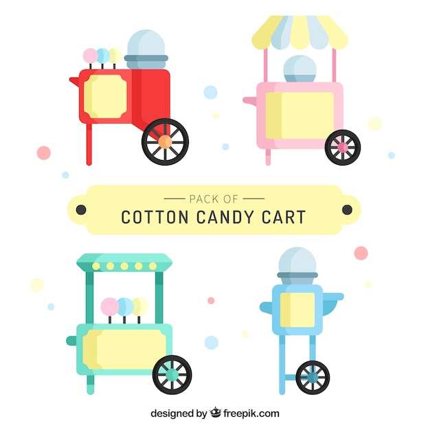 Pack of flat cotton candy carts