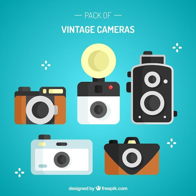 Pack of flat designed vintage camera