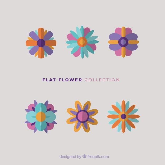 Pack of flat flowers in vintage style