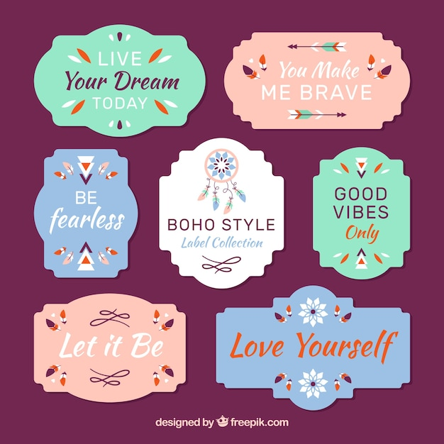 Pack Of Flat Labels In Boho Style Vector | Free Download