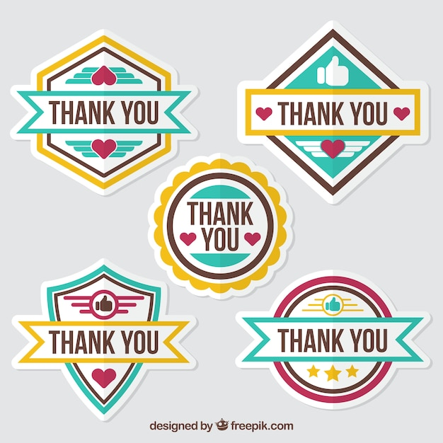 Pack of flat thank you stickers