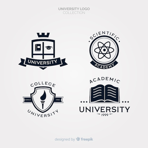 Pack of flat university logos Free Vector